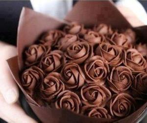 chocolate, rose, and food image