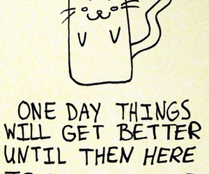 cat, drawing, and quote image