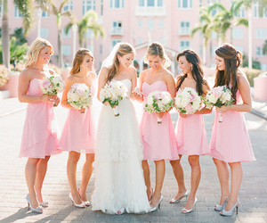 wedding, dress, and pink image