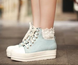 shoes, blue, and lace image