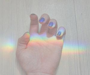 rainbow, nails, and hand image