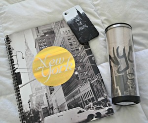 bed, black and white, and new york image