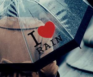 rain, umbrella, and heart image