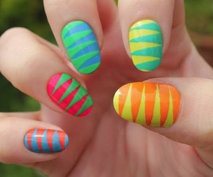 nails, colorful, and green image