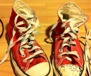 converse, red shoes, and shoes image