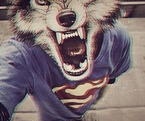 wolf, superman, and boy image