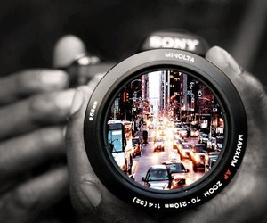 black and white, camera, and city image