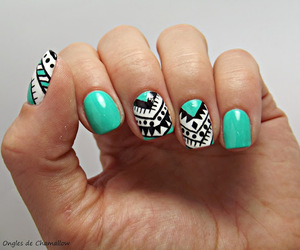 nails, blue, and tribal image