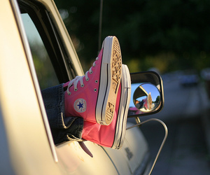 converse, pink, and car image