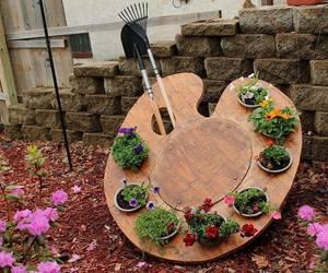 garden, flowers, and art image