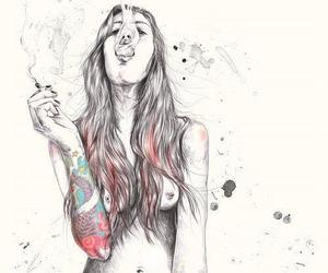 cigarette, draw, and naked image
