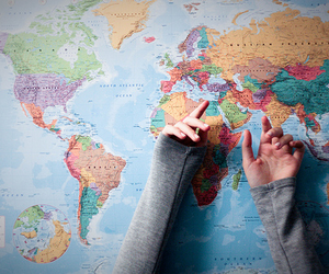 world, map, and hands image