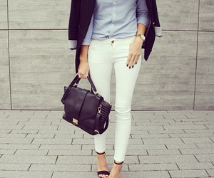 bag, jeans, and woman image