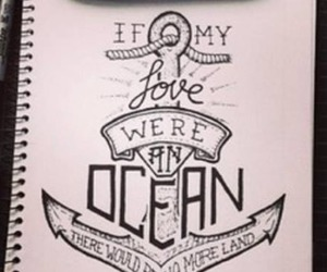 drawing, anchor, and ocean image