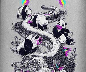 panda, dragon, and rainbow image