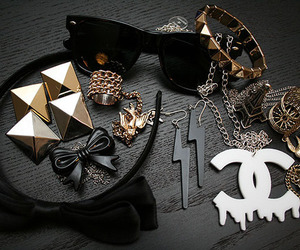 chanel, accessories, and black image