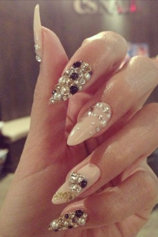 Tan color stiletto nails | Nail art on We Heart It