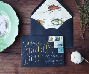 art, calligraphy, and envelope image