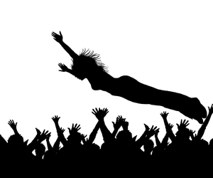 rock, stage diving, and stage image