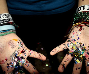 bracelets, confetti, and hands image