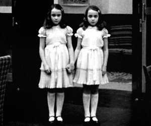 twins, black and white, and The Shining image