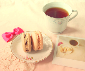 tea, macaroons, and pink image