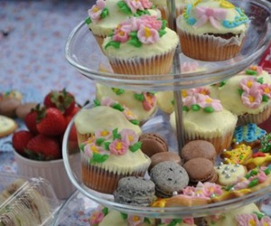 cupcake, macaroons, and flowers image