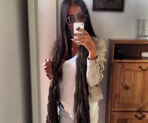 brunette, long hair, and dark hair image