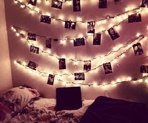 bed, lights, and pictures image