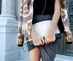 fashion, jacket, and clutch image