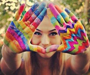 girl, colors, and hands image