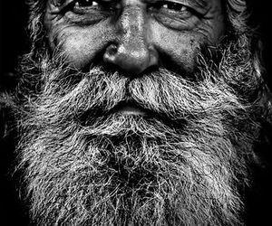 beard, black and white, and old image