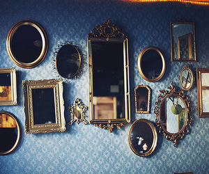 mirror, vintage, and blue image