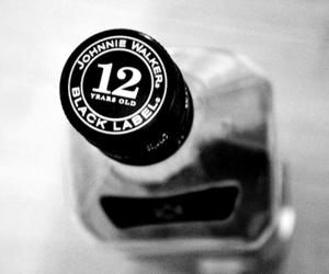 alcohol, black and white, and Black Label image