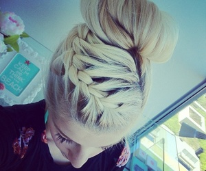blond, braid, and hair image