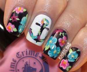 nails, anchor, and floral image