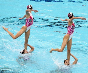 pool, swimmingpool, and synchronized swimming image