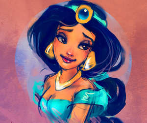jasmine, aladdin, and disney image