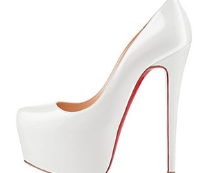fashion, white, and red bottom heels image
