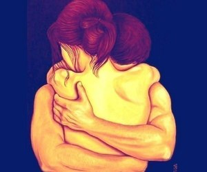 couple, love, and cuddle image
