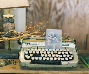 vintage, owl, and typewriter image