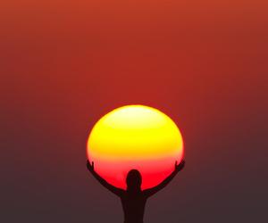sun, sunset, and beach image