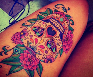 tattoo, skull, and flowers image