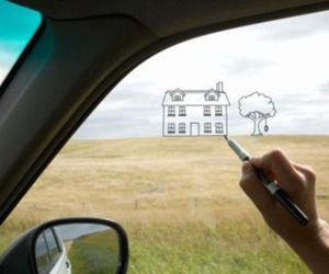 car, drawing, and house image