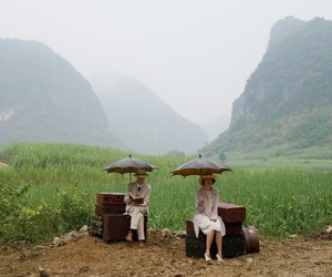 umbrella, couple, and travel image