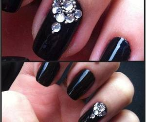 black, nail art, and strass image