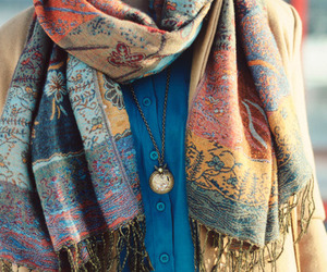 fashion, scarf, and necklace image