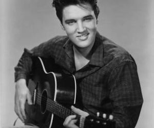 Elvis Presley, guitar, and black and white image