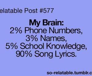 brain, funny, and Lyrics image