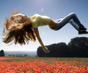 girl, flowers, and fly image